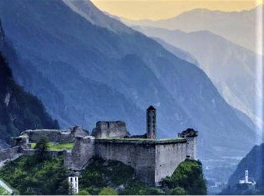 Mesocco castle with San Martino